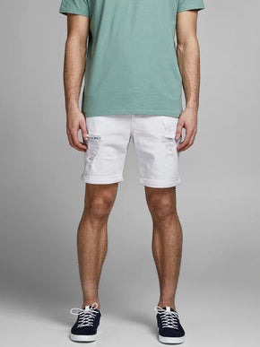RICK 130 WHITE DENIM SHORTS