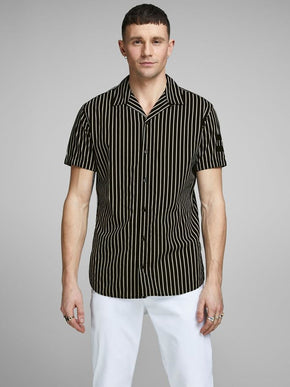 FINAL SALE – BLACK & WHITE STRIPED SHORT SLEEVE SHIRT