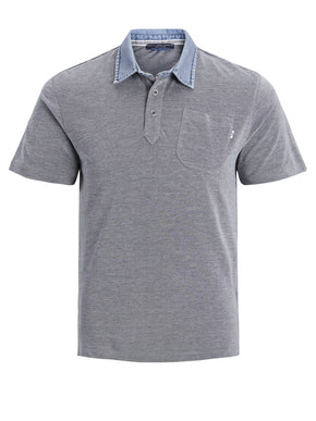 POLO WITH DENIM STYLE COLLAR