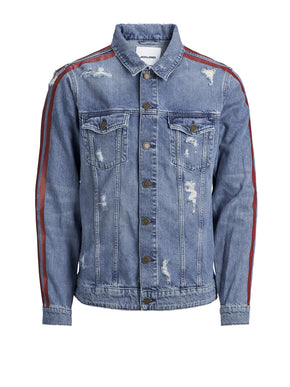 VESTE EN DENIM À RAYURES ROUGES