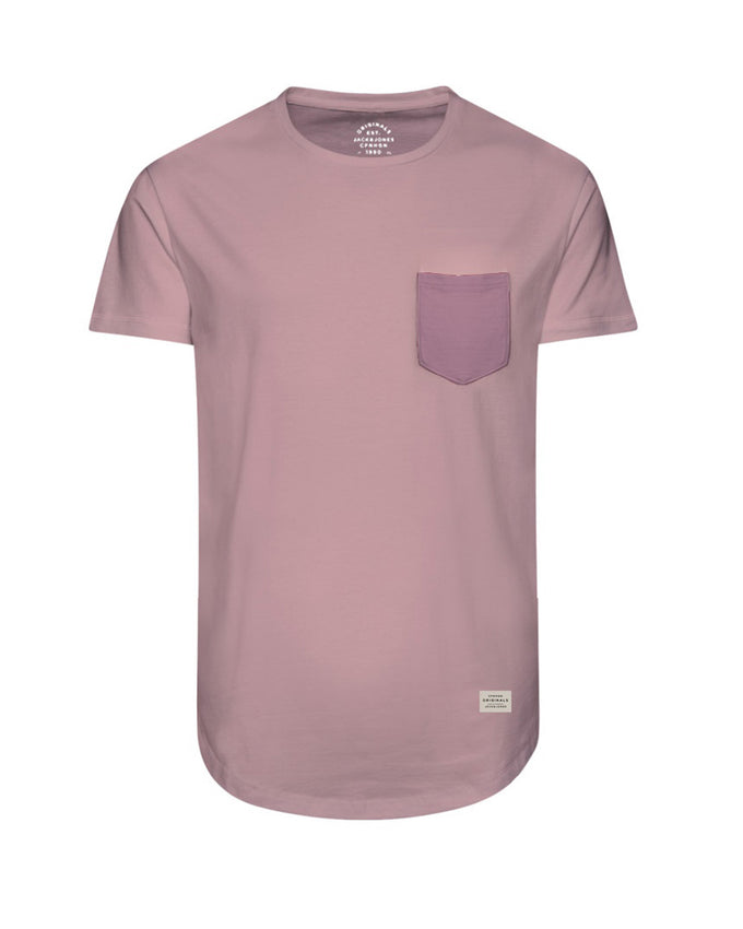 LONG CURVED T-SHIRT WITH POCKET SILVER PINK