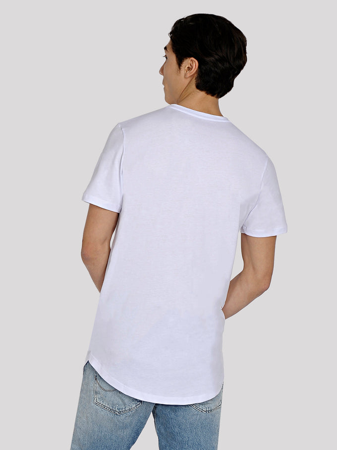 LONG CURVED T-SHIRT WITH POCKET WHITE