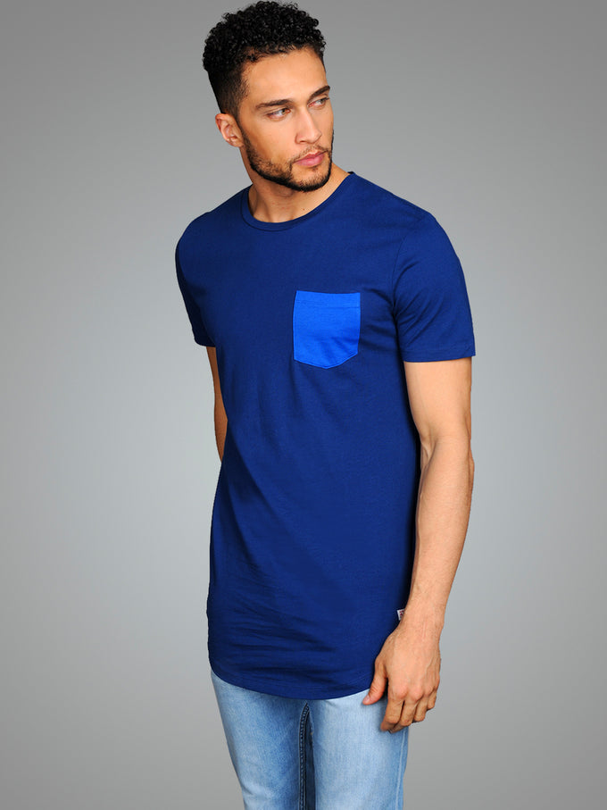 LONG CURVED T-SHIRT WITH POCKET ESTATE BLUE