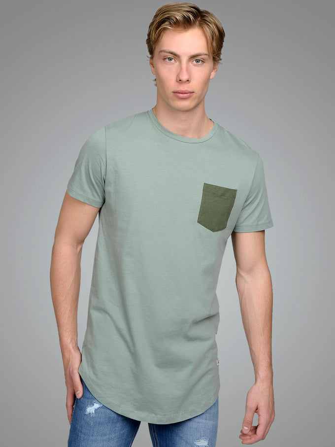 LONG CURVED T-SHIRT WITH POCKET CHINOIS GREEN