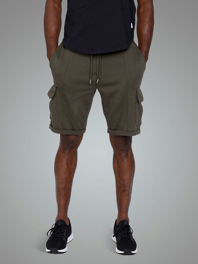 LONG CARGO STYLE SWEAT SHORTS FOREST NIGHT