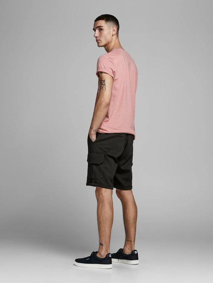 LONG CARGO STYLE SWEAT SHORTS BLACK
