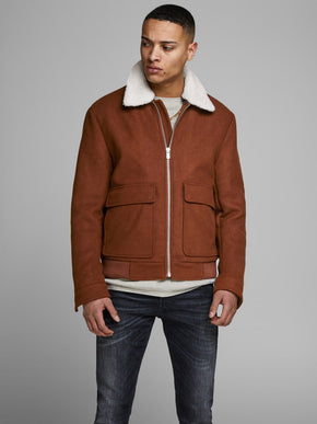 WOOL BOMBER JACKET WITH TEDDY LINED COLLAR