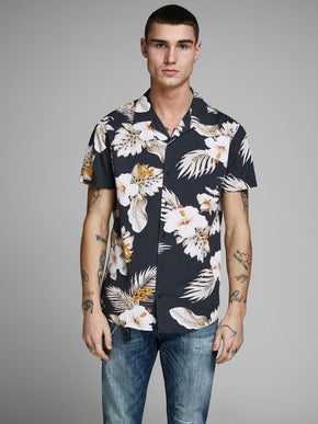 CHEMISE MANCHES COURTES EN VISCOSE STYLE HAWAIIEN