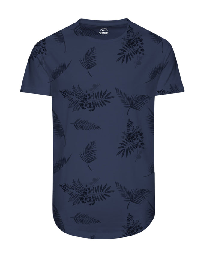 FINAL SALE – TROPICAL LONG CURVED T-SHIRT ENSIGN BLUE