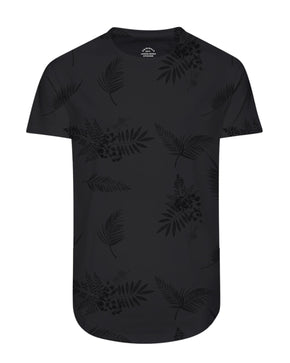 FINAL SALE – TROPICAL LONG CURVED T-SHIRT