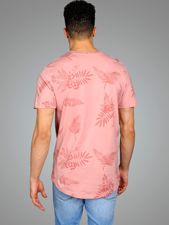 FINAL SALE – TROPICAL LONG CURVED T-SHIRT ROSETTE