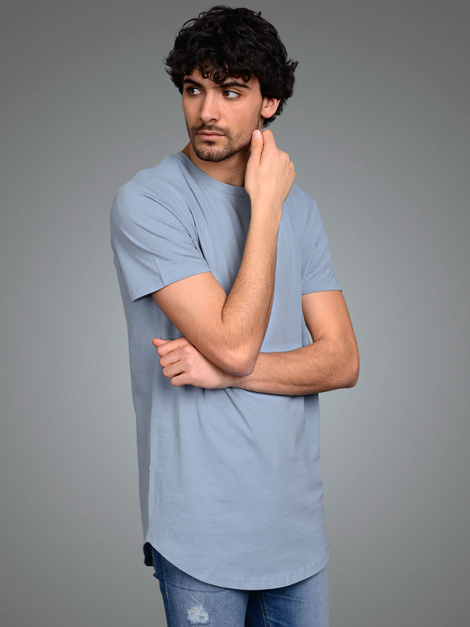 NOA LONG FIT CURVED T-SHIRT ASHLEY BLUE