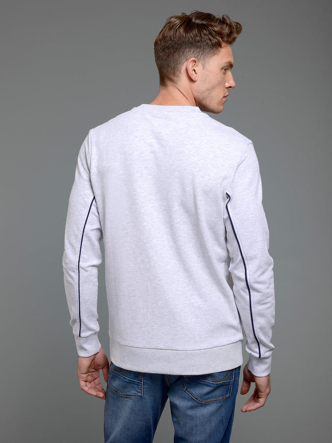 CORE SWEAT WITH OUTLINED PRINT WHITE MELANGE