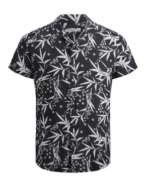 VISCOSE BLEND FLORAL SHORT SLEEVE SHIRT