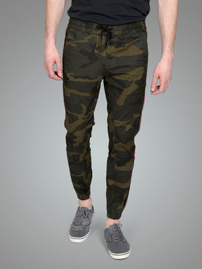 CAMO JOGGER PANTS WITH RED STRIPES
