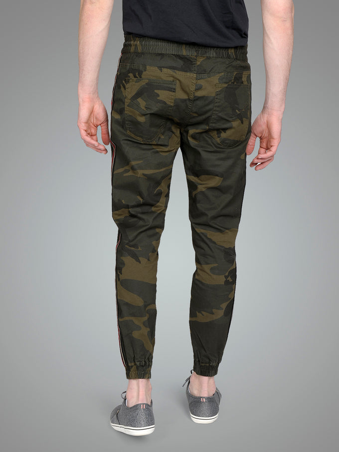 CAMO JOGGER PANTS WITH RED STRIPES FOREST NIGHT