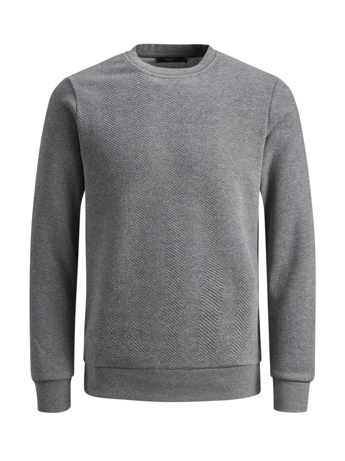 CORE CREWNECK WITH TEXTURED BODY GREY MELANGE