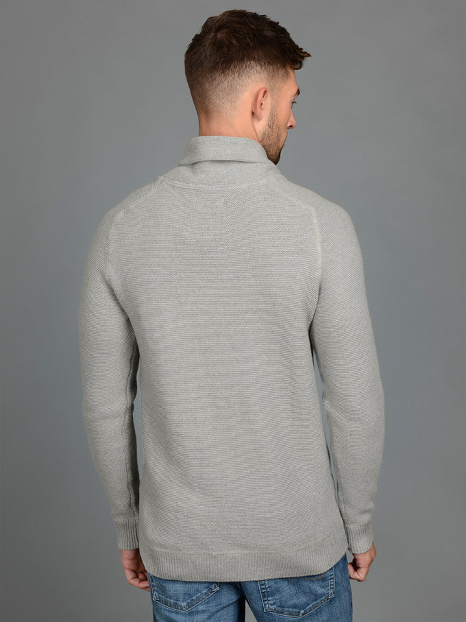 SHAWL NECK ORIGINALS SWEATER LIGHT GREY MELANGE
