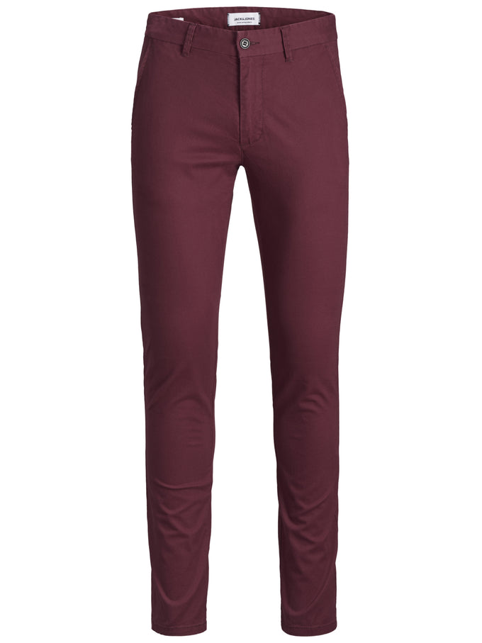 BURGUNDY SKINNY FIT CHINO PANTS BURGUNDY