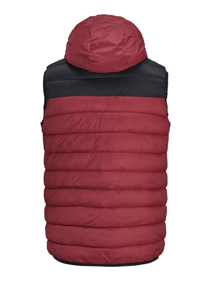QUILTED VEST WITH TEDDY LINED HOOD BRICK RED