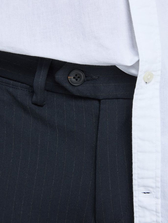 STRETCHY PINSTRIPE PANTS DARK NAVY