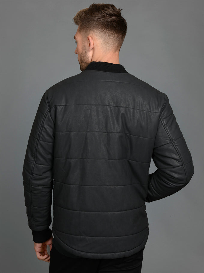 FAUX-LEATHER PREMIUM PUFFER JACKET BLACK