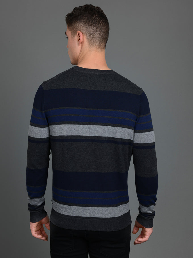 FAST STRIPED PREMIUM SWEATER MARITIME BLUE