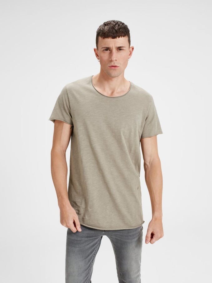 SCOOP NECK CASUAL T-SHIRT BRINDLE