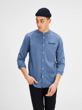 MANDARIN COLLAR DENIM LOOK SHIRT