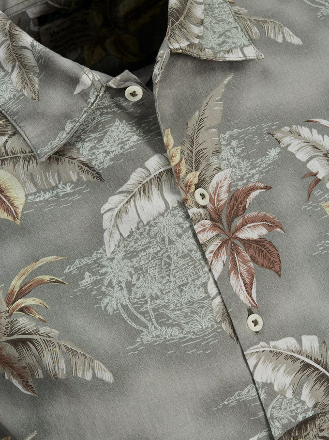CHEMISE STYLE TROPICAL D'HAWAII VERT FORÊT