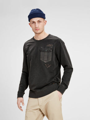 POCKET DETAIL MILITARY SWEATSHIRT