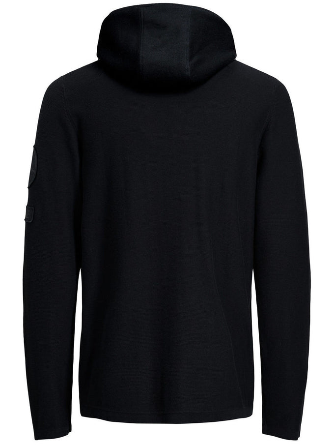 HEATHERED STYLE HOODIE WITH PATCH DETAILS BLACK