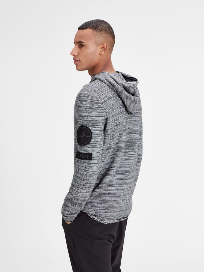 HEATHERED STYLE HOODIE WITH PATCH DETAILS WHITE