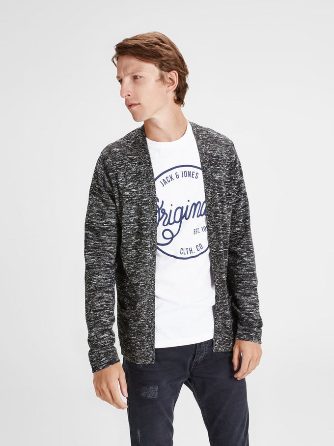 HEATHERED OPEN KNIT CARDIGAN BLACK