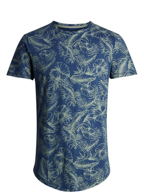 ALL-OVER LEAF PRINT LONG FIT T-SHIRT