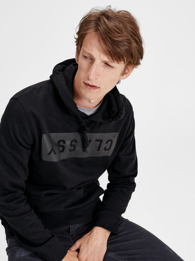 GOTHIC LETTER PRINT HOODIE TAP SHOE