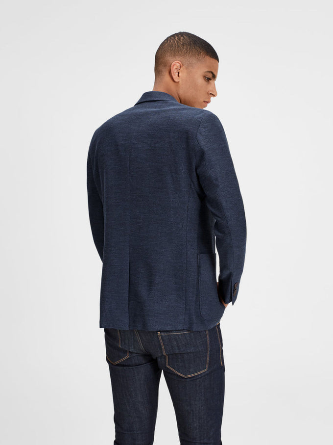 HERRINGBONE PATTERN BLAZER DARK NAVY