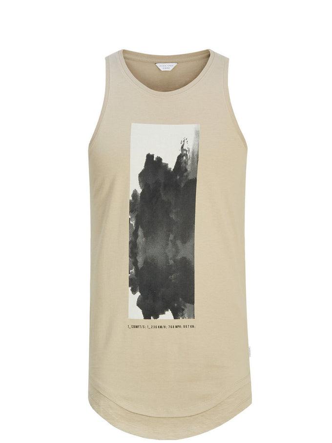 GRAPHIC PRINT LONG FIT SLIM TANK TOP SILVER SAGE