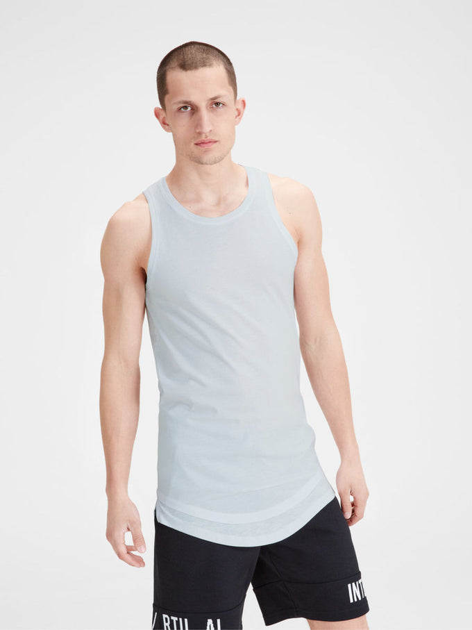 GRAPHIC PRINT LONG FIT SLIM TANK TOP WHITE
