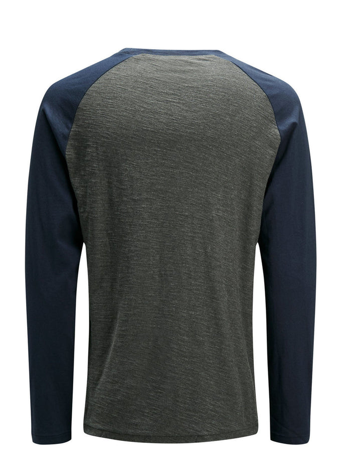 BASEBALL STYLE LONG SLEEVE T-SHIRT DARK GREY MELANGE