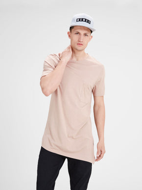 ASYMMETRIC CUT LONG FIT STRETCH T-SHIRT