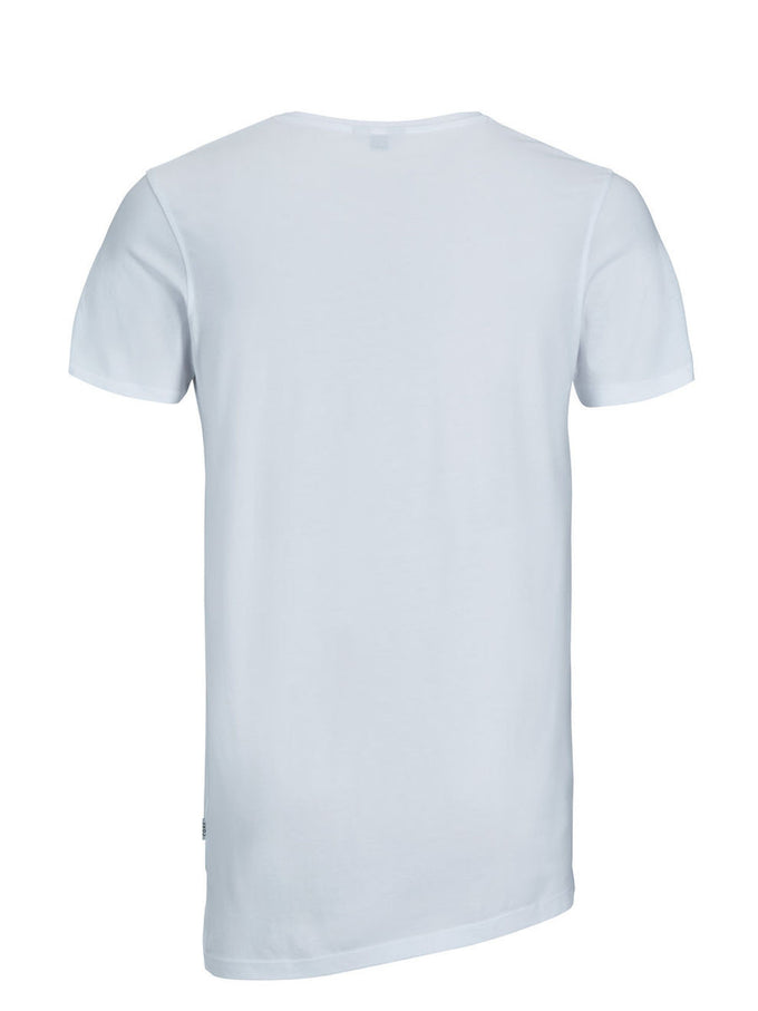 ASYMMETRIC CUT LONG FIT STRETCH T-SHIRT WHITE