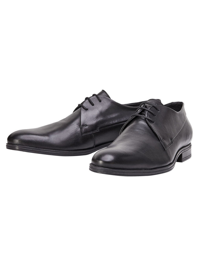BLACK LEATHER DRESS SHOES ANTHRACITE