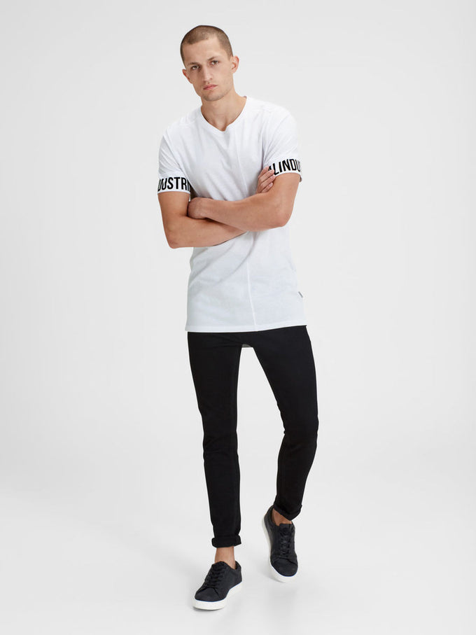 HIGH-LOW T-SHIRT WITH PRINTED SLEEVES WHITE