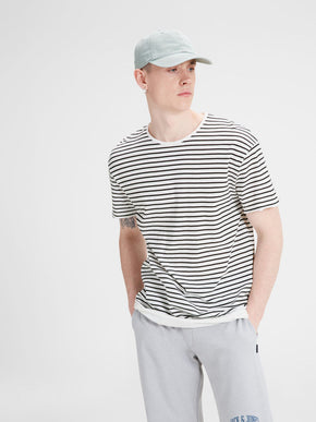 OVERSIZE LAYERING DETAIL STRIPED T-SHIRT