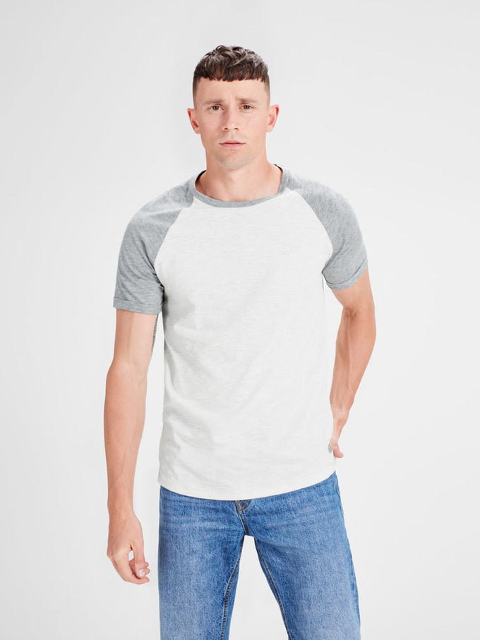 BASEBALL STYLE SHORT SLEEVE T-SHIRT LIGHT GREY MELANGE