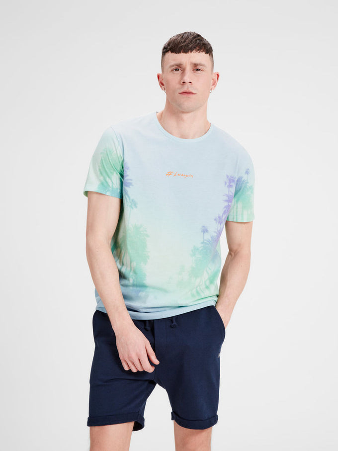 COLOR GRADIENT BEACH PRINT T-SHIRT CLOUD DANCER