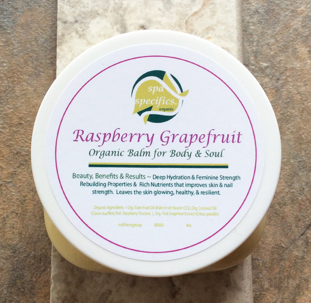 Rasberry Grapefruit 4 oz. Organic Moisture Balm for Body, Hands & Feet