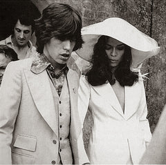 Bianca Jagger in a white tuxedo on her wedding day