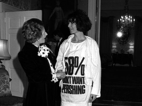 Katharine Hamnett, in protest slogan T-shirt, meets Margaret Thatcher at Downing Street in 1984